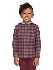 Dex Little Boy's Checkered Cotton Hooded Shirt PLU
