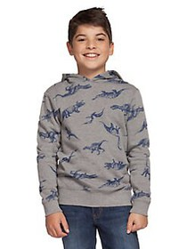 Dex Boy's Dinosaur-Print Cotton Blend Hoodie LIGHT