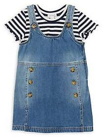 Flapdoodles Little Girl's Striped Tee & Jumper Set