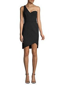 BCBGMAXAZRIA One-Shoulder Stretch Crepe Wrap Dress