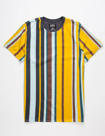 SUPER MASSIVE Ice Blue Stripe Mens T-Shirt_