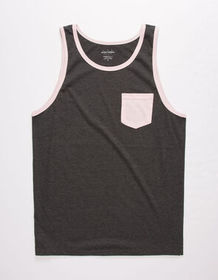 BLUE CROWN Solid Charcoal Mens Pocket Tank Top_