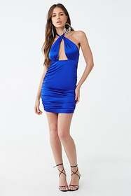 Forever21 Satin Ruched Cutout Halter Dress