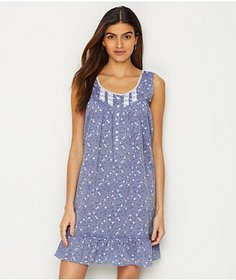Eileen West Floral Chambray Woven Chemise