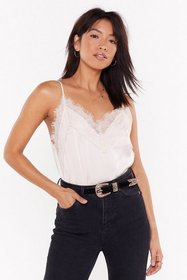 Nasty Gal Womens Beige Lace It Satin Cami Top
