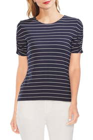 Vince Camuto Stencil Stripe Ruched Sleeve Tee (Reg