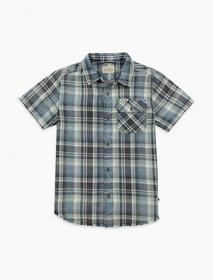 Lucky Brand Boys 2t-7 Short Sleeve Button Down Pla