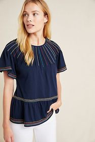 Anthropologie Chamonix Embroidered Swing Top
