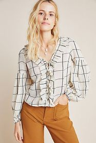 Anthropologie Garland Textured Peasant Blouse