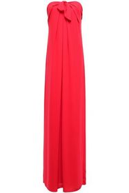 HALSTON HERITAGE Strapless knotted draped crepe go