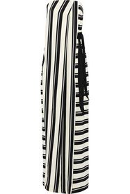 HALSTON HERITAGE Strapless wrap-effect striped cre