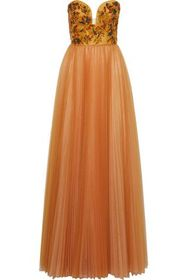J.MENDEL Strapless embellished pleated tulle gown