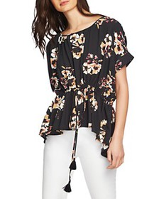 1.STATE - Cinched-Waist Floral-Print Top
