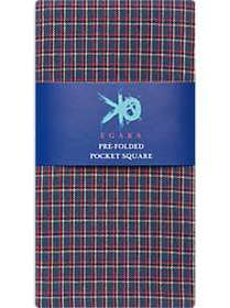 Egara Navy Plaid Pre-Folded Pocket Square
