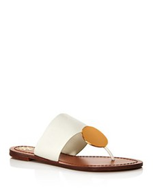 Tory Burch - Women's Patos Disc Leather Thong Sand