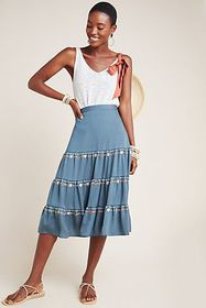 Anthropologie Bianca Embroidered Skirt
