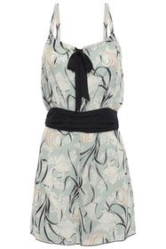ANNA SUI Bow-detailed printed woven playsuit