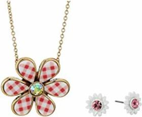Betsey Johnson Flower Earrings and Necklace Set