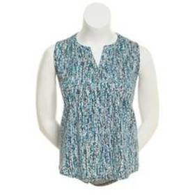 Notations Sleeveless Pin Tuck Front Teal Speckled