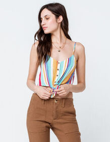 GOOD LUCK GEM Stripe Tie Front Womens Crop Tank To