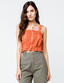 SKY AND SPARROW Eyelet Button Front Rust Womens Cr