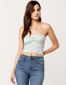 IVY & MAIN Smocked Ditsy Floral Womens Crop Tube T