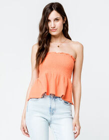 SKY AND SPARROW Smocked Peplum Hem Coral Womens Tu