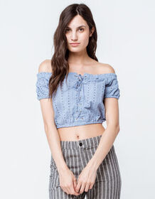 SKY AND SPARROW Eyelet Crop Light Blue Womens Off