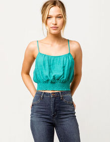 SKY AND SPARROW Smocked Green Womens Crop Cami_