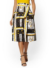 Mixed-Print Full Pleated Skirt - 7th Avenue - New