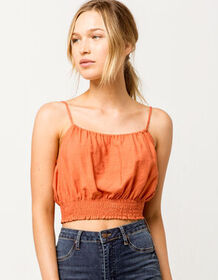SKY AND SPARROW Smocked Coral Womens Crop Cami_