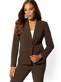 Brown One-Button Jacket - 7th Avenue - New York &