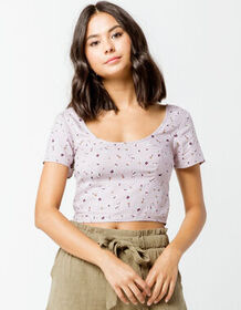IVY & MAIN Floral Structured Lavender Womens Crop