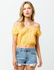 SKY AND SPARROW Eyelet Crop Yellow Womens Off The