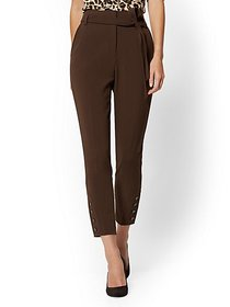 Button-Accent Belted Slim Pant - 7th Avenue - New