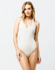 SKY AND SPARROW Ribbed Halter Tan Womens Bodysuit_