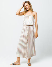 MIMI CHICA Stripe Crop Womens Tube Jumpsuit_