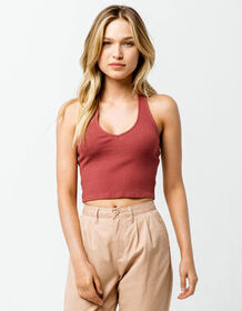 SKY AND SPARROW Ribbed Rust Womens Halter Top_