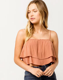 IVY & MAIN Ruffle Tier Solid Rust Womens Crop Top_
