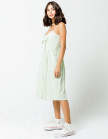 SKY AND SPARROW Knot Button Front Sage Midi Dress_