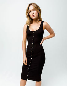 HEART & HIPS Button Front Ribbed Black Bodycon Mid