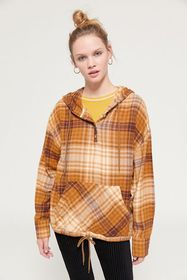 UO Alex Popover Hooded Flannel Shirt