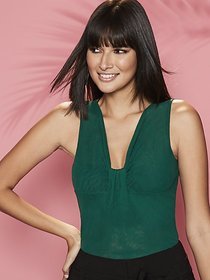 Mesh Ruched V-Neck Top - Sweet Pea - New York & Co