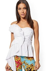 White Ruffled Bustier Top - New York & Company