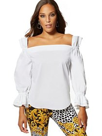 White Ruffle Off-The-Shoulder Top - New York & Com