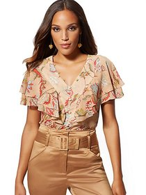 Floral V-Neck Ruffle Blouse - 7th Avenue - New Yor