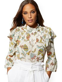 Paisley Floral Smocked Blouse - 7th Avenue - New Y