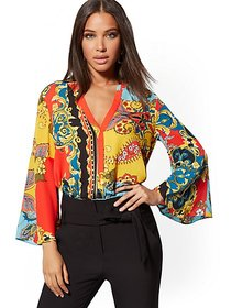 Mixed-Print Bell-Sleeve Blouse - 7th Avenue - New