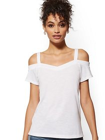 Cold-Shoulder Soft Tee - New York & Company