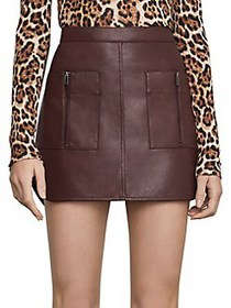 BCBGMAXAZRIA Patch Pocket Faux Leather Skirt CHOCO